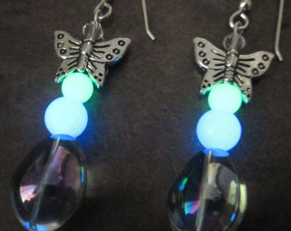 Handmade Butterfly Blue & Green Glow Glass Earrings with Sterling Silver Hooks Fairy Boho Mermaid Magical Glowing Dangles