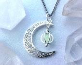 Crescent Moon Glow Locket Orb Magic Necklace Glowing Galaxy Luna Celestial Space Jewelry Handmade Silver Filigree Pendant Glows in the Dark