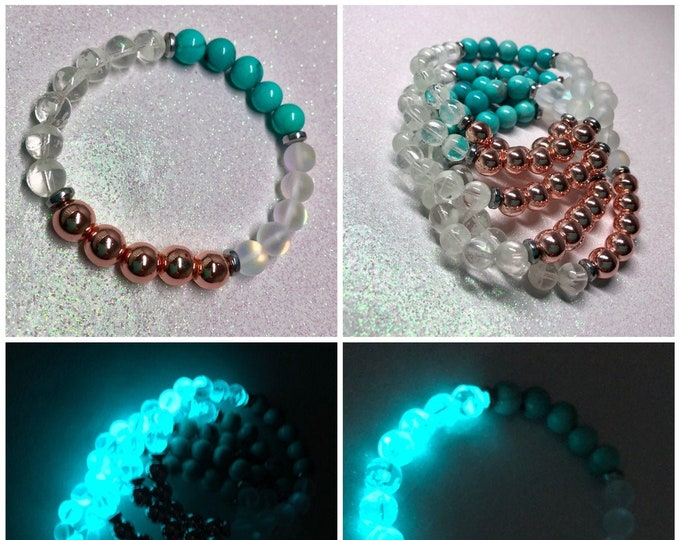 Turquoise Bracelet / Rose Gold / Moonstone Quartz / Hematite / Glow in the Dark / Stretch / Blue Howlite / Gemstone