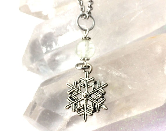 Frozen Snowflake Fairy Orb Glowing Charm Necklace