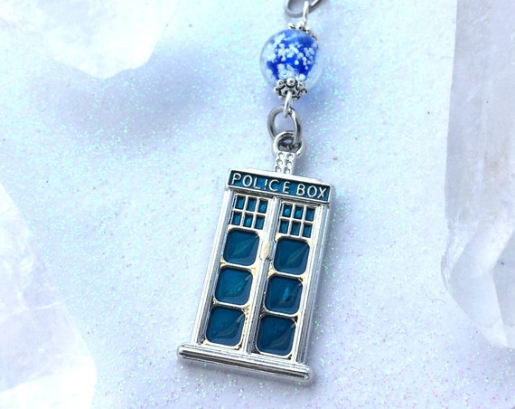 Tardis Glowing Orb Magic Necklace Doctor Who Whovian Space Galaxy Time Travel Universe Jewelry Pendant Handmade with Free UV Light Charger