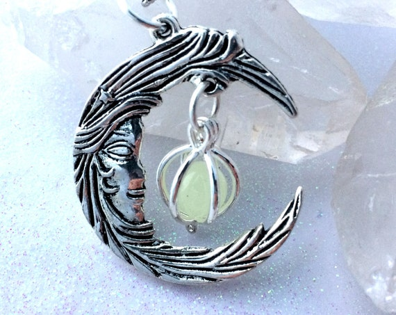 Crescent Moon With Caged Orb Glow Locket in silver or bronze glow  in the dark jewelry