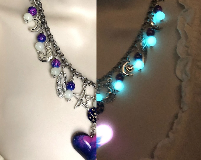 Glow in the Dark Beaded Charm Necklace #02