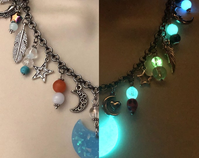 Glow in the Dark Beaded Charm Necklace #01
