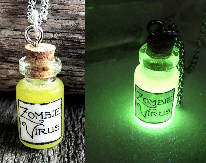 Zombie Virus Glow Green Potion Glass Vial Bottle