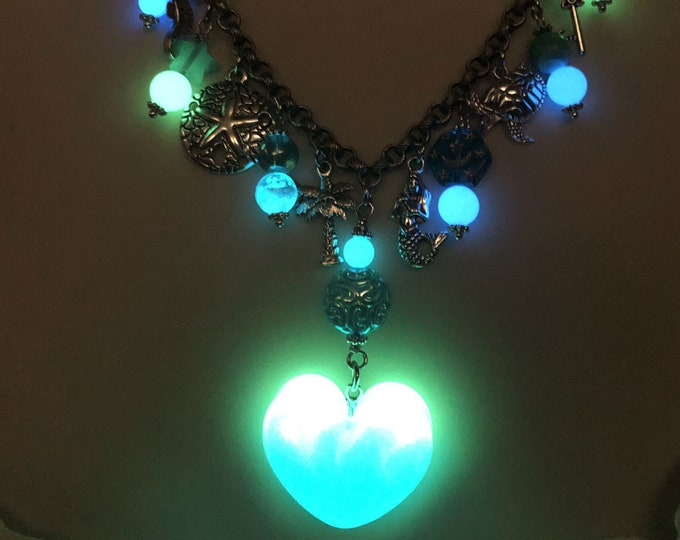 Glow in the Dark Beaded Charm Necklace #03