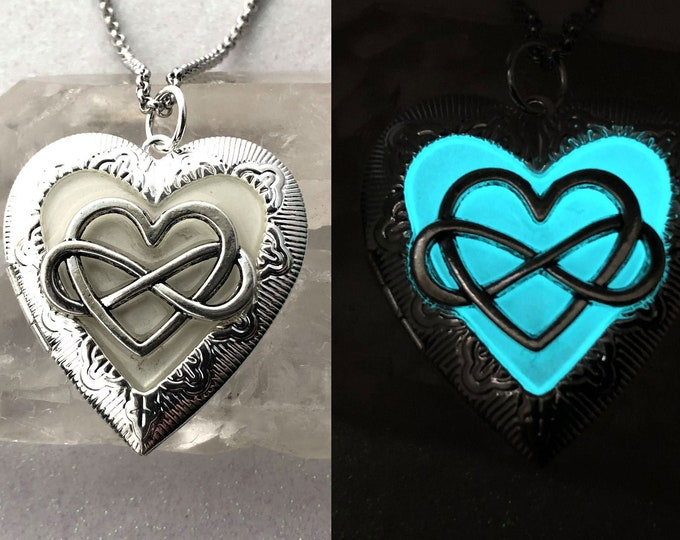 Infinity Heart Glow Locket for Pictures