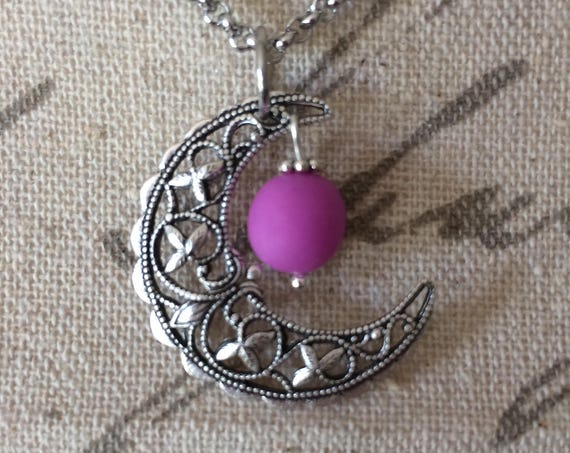 Vintage Crescent Moon Glow Necklace Glowing Violet Purple Orb Handmade Filigree Silver Handmade Magical Moon Jewelry Glow in the Dark Moon