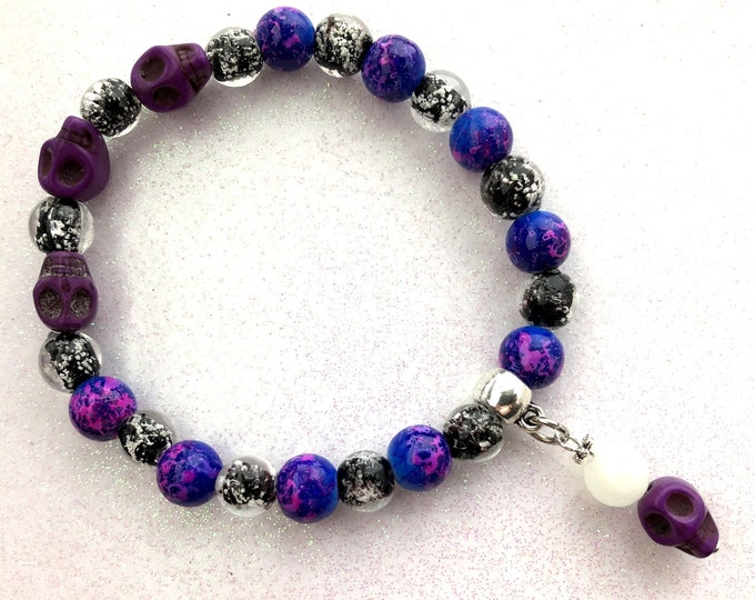 Night Sky Galaxy Glow Skull Bracelet