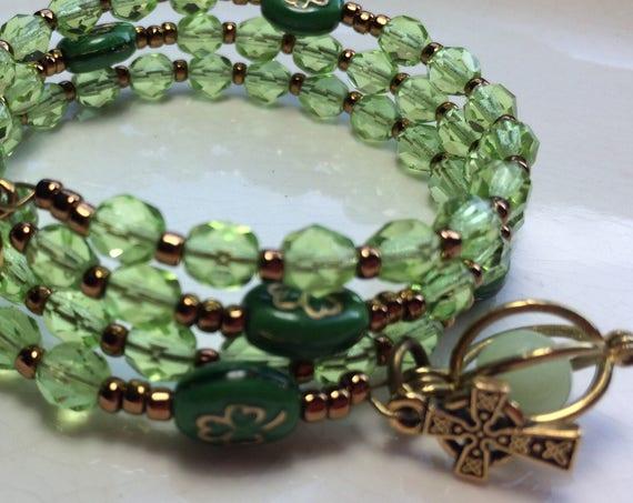 Irish Catholic Shamrock Rosary Bracelet Celtic Cross, Glowing Rosary, Rosary Bracelet, Irish Catholic Rosary, Shamrock Bracelet