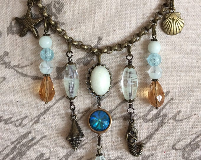 Mermaid Statement Necklace Seashells Glow Necklace Crystal Teardrop Beads Antique Brass Vintage Style Glowing Opal Galaxy Beaded Ocean Glow