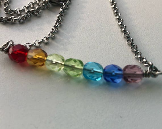 Rainbow Necklace, Bar Necklace, Rainbow Jewelry, Rainbow Chakra, Chakra Necklace, Handmade Rainbow Necklace, Rainbow Glass, ROYGBIV Rainbow