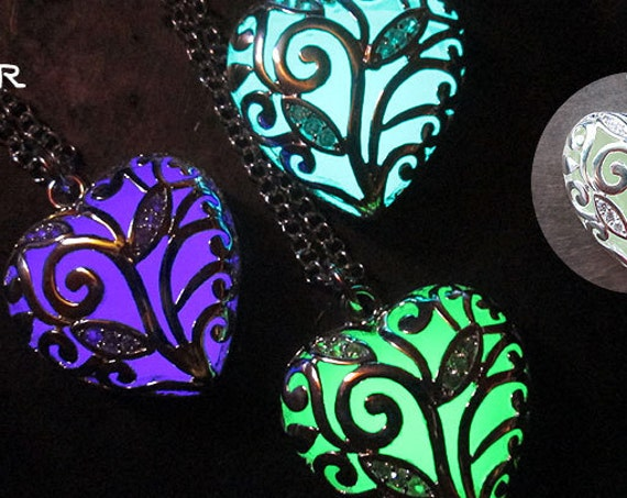 Heart of Winter Frozen Forest Glow in the Dark Necklace Glow in the Dark Pendant USA Made Victorian Steampunk