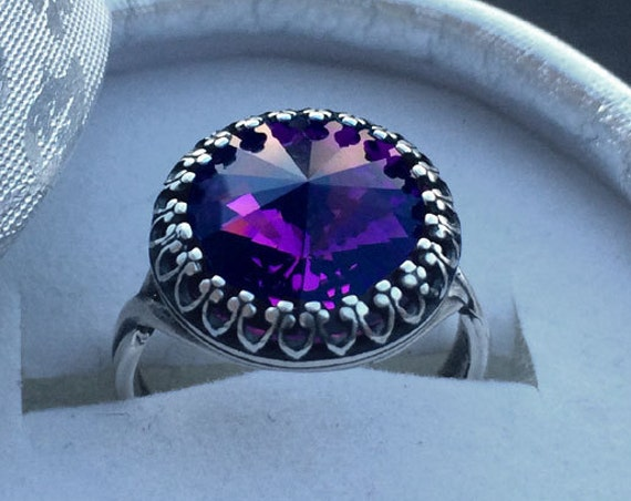 Amethyst Swarovski Crystal Adjustable Victorian Ring Magic Jewelry