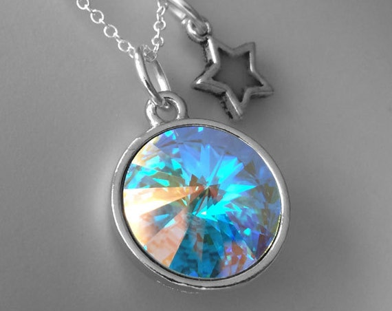 Aurora Borealis Swarovski Crystal with Glow Star Charm Magic Necklace Silver Glowing Celestial Galaxy Handmade Glowies Jewelry