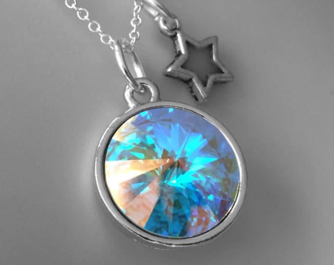 Aurora Borealis Swarovski Crystal Necklace with Glow in the Dark Star Charm