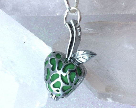 Enchanted Apple Caged Glow Locket  Pendant Silver