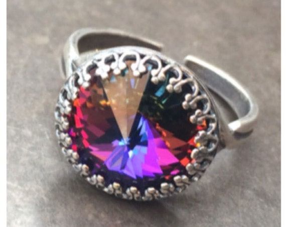 Volcano Swarovski Crystal Adjustable Ring Magic Healing