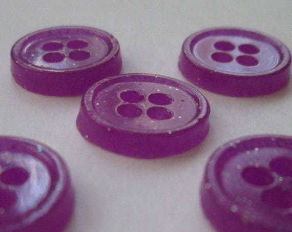 Purple Buttons Violet Holographic Glitter Glow in the Dark Handmade Buttons 1/2 Inch 12mm Sparkly Glowies DIY Cosplay Sewing Crafts Fashion