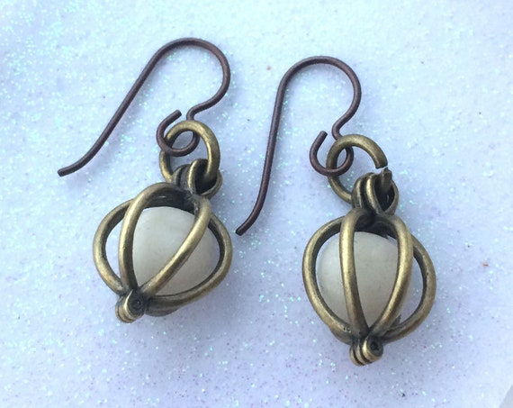 Glow Lockets® Orb Earrings Bronze Antique Brass