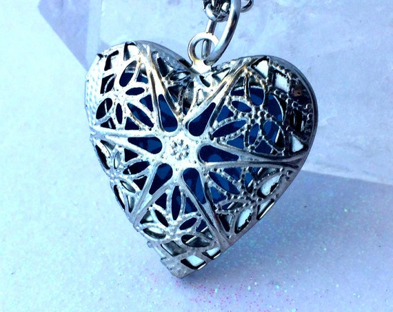 Blue Frost Silver Plated Heart Glow Locket