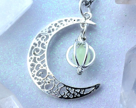 Crescent Moon Glow Locket Orb Magic Necklace Glowing Galaxy Luna Celestial Space Jewelry Handmade Silver Filigree Pendant Glows in the Dark