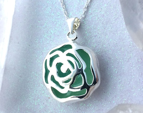 Blue Enchanted Rose Glowing Necklace