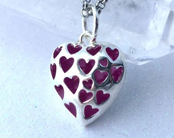 Purple Love Spell Glowing Heart Necklace Violet Glow