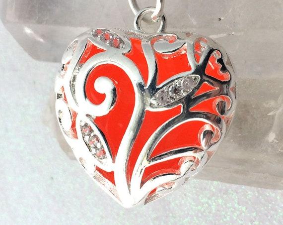 USA Made Orange Heart of Winter Sunshine Glowing Necklace with UV Light