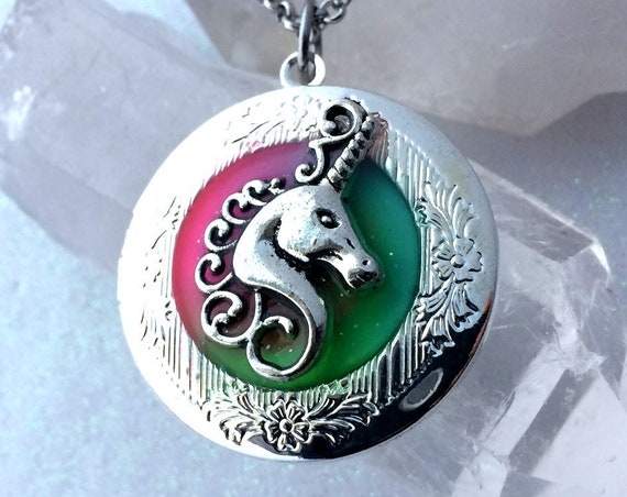 Unicorn Glow in the dark Locket for Pictures