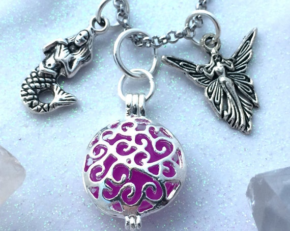 Violet Purple Pixie and Mermaid Magic Glow Locket® Necklace