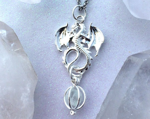 Dragon Orb Bronze or Silver with Glow Orb Egg Glow in the Dark Pendant