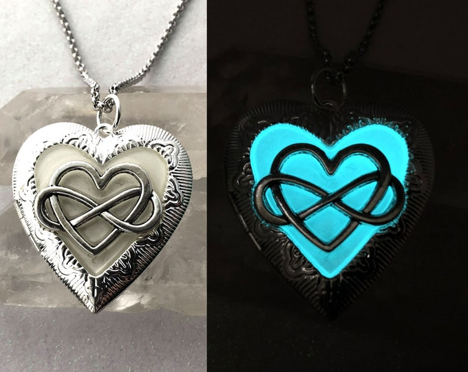 Infinity Heart Glow in the dark Locket for Pictures