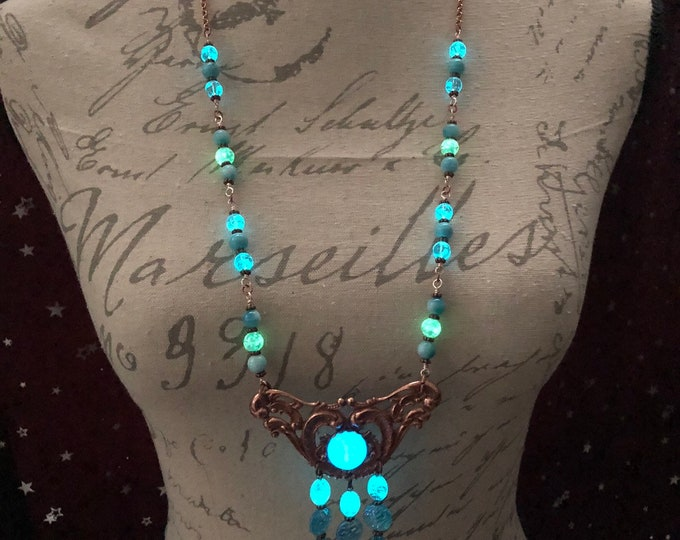 Rose Gold Larimar Glowing Long Beaded Necklace with Goddess Face