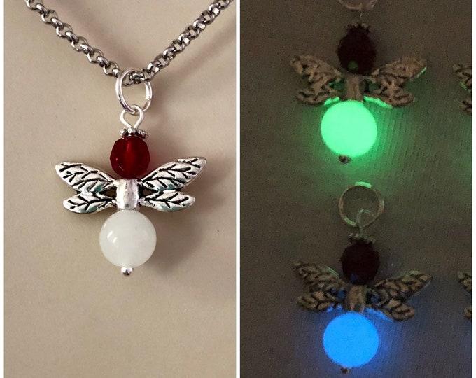 Glowing Firefly Necklace Birthstone Crystal Glow Jewelry