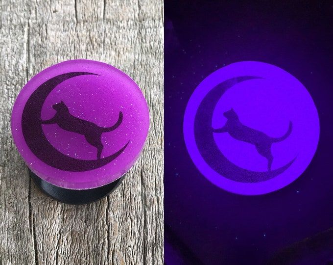 Cat on the moon glow in the dark phone grip stand