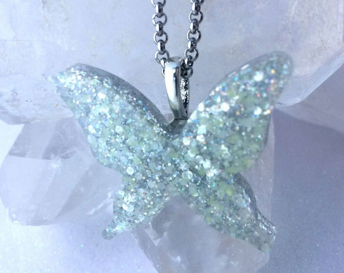 Holographic Galaxy Glowing Butterfly Necklace