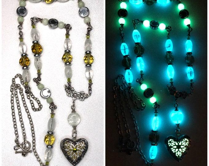 Long Beaded Glow Locket Heart Necklace Green Locket