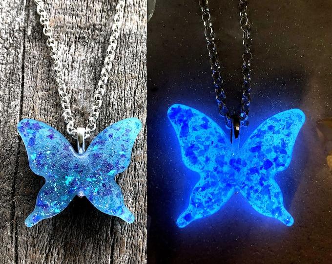 Opal Glow in the dark butterfly necklace