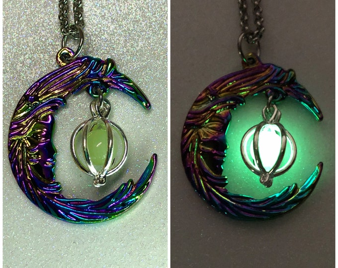 Aurora Borealis Crescent Moon Glow Galaxy Orb Necklace