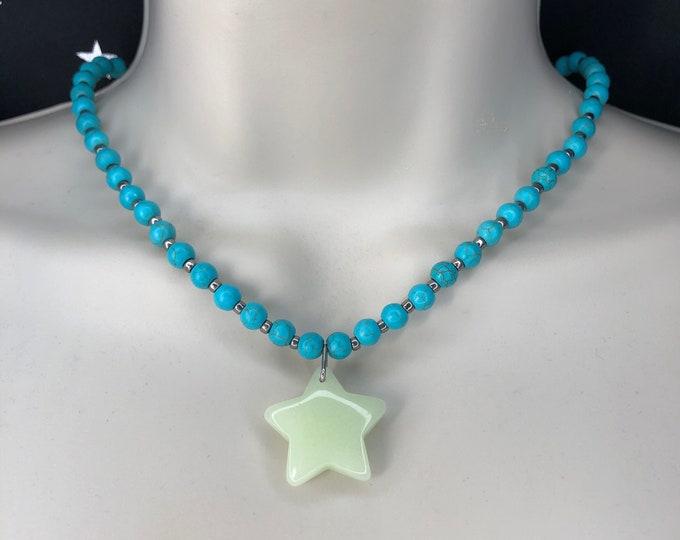 Turquoise Glowing Star Necklace Howlite Beads Glow Stone Star Glowies