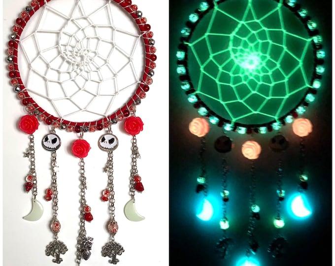 Red Rose Skelly Head Glow in the Dark Dreamcatcher, Halloween Dream Catcher, Spooky Decoration