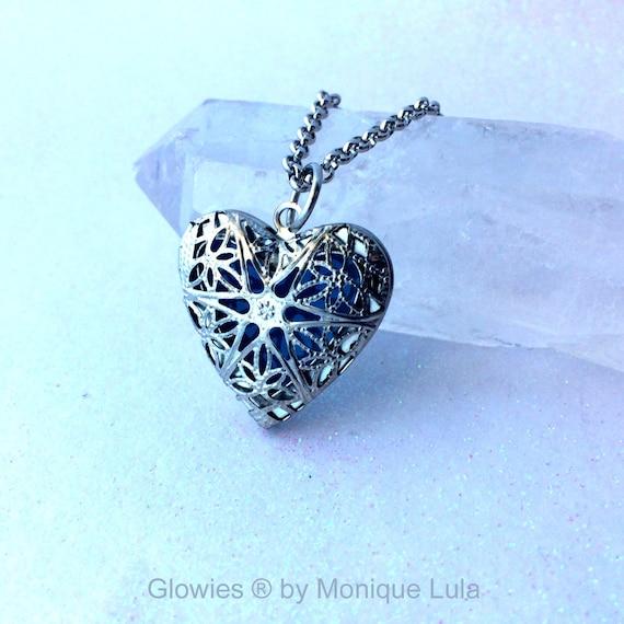 Blue Frost Silver Plated Heart Glow Locket