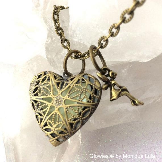 Heart of the Fairy Glow Locket Steampunk Magic Wings Tinkerbell