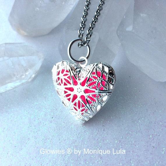 Pink Mystic Heart Glow Locket Glowing in the dark Silver