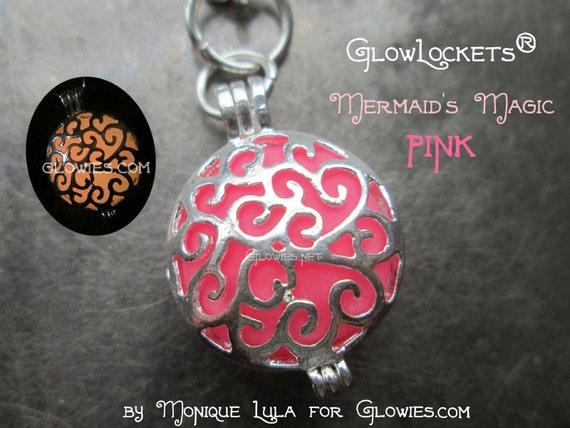 Mermaid's Magic Glow Locket Pink Silver Pendant Necklace Glowie