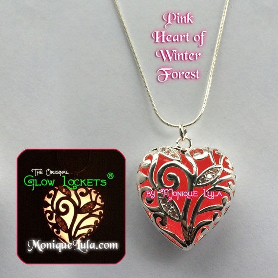 Pink Heart of Frozen Winter Forest Glowing Necklace