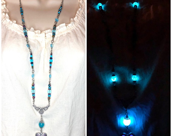 Long Beaded Glowie Necklace with Heart Glow Locket Blue and Violet Purple Locket