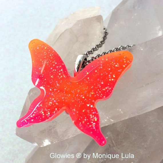 Handmade Glow in the dark Butterfly Necklace