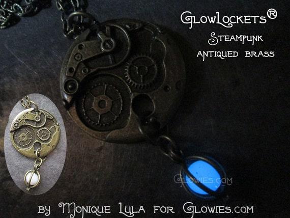 Steampunk Gears Glow Orb Locket Glowie Pendant Bronze
